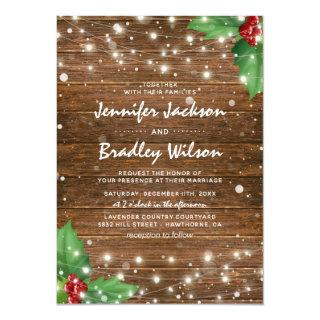 Rustic Winter Christmas Themed Wedding Invitations