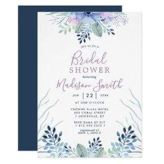 Rustic Winter Floral Navy Watercolor Bridal Shower Invitations