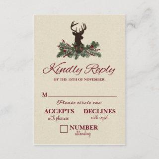 Rustic Winter Holiday Pine Wedding RSVP Card