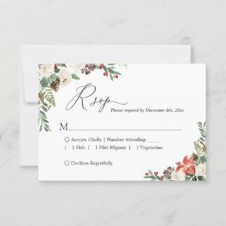 Rustic Winter Ivory Floral Pine Cone Wedding RSVP Card