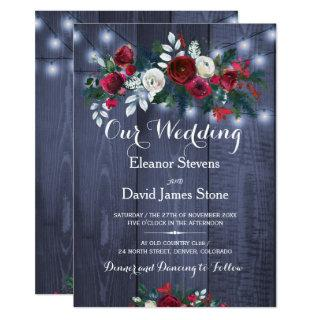 Rustic winter lights burgundy floral wedding Invitations