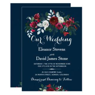 Rustic winter navy blue burgundy floral wedding invitation