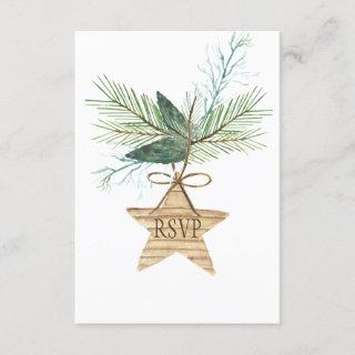 Rustic Winter Pine Branches Star RSVP