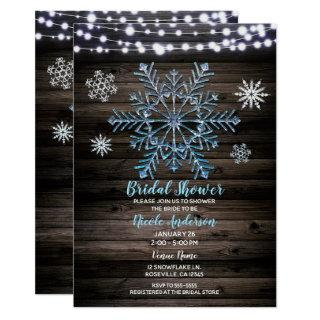 Rustic Winter Snowflakes & Lights Bridal Shower Invitation