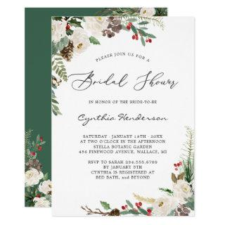 Rustic Winter Themed Floral Berries Bridal Shower Invitation