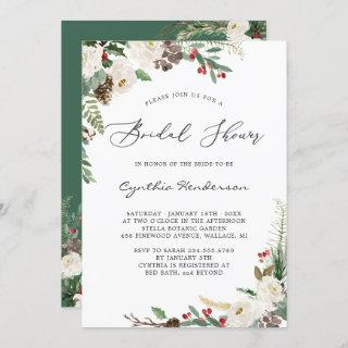 Rustic Winter Themed Floral Berries Bridal Shower Invitations