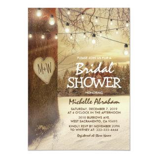 Rustic Winter Tree Twinkle Lights Bridal Shower Invitation