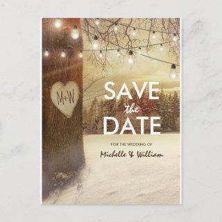 Rustic Winter Tree Twinkle Lights Save the Date Announcement Postcard
