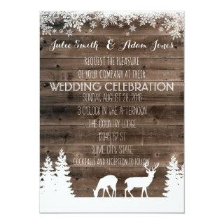 Rustic Winter Wedding Invitation - Deer