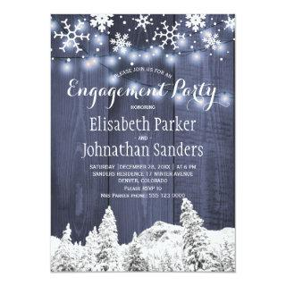 Rustic winter wonderland engagement party Invitations