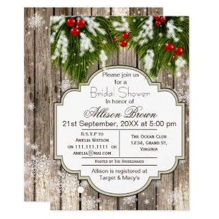 Rustic Winter Woodland Bridal shower Invitations