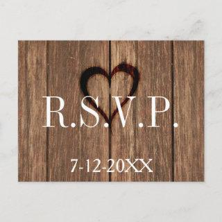 Rustic Wood and Engraved Heart RSVP Card