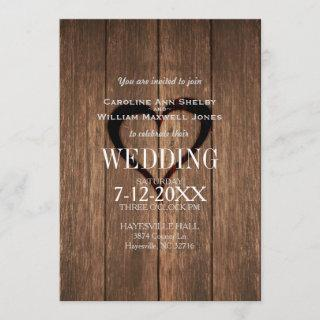 Rustic Wood and Engraved Heart Wedding Invitation