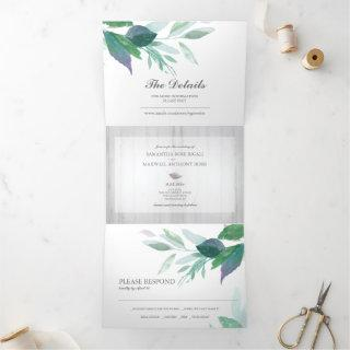 Rustic Wood and Foliage All In One Wedding Invite