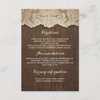 Rustic Wood and Lace Wedding Details - Information Enclosure Card