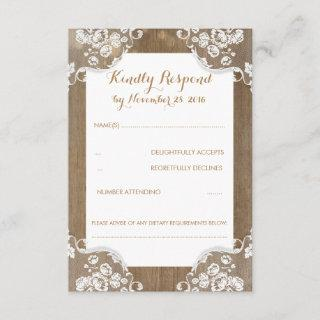 Rustic Wood and Lace Wedding RSVP
