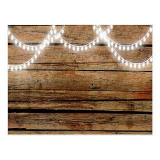 Rustic Wood And Lights Country Background Postcard