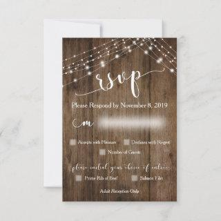 Rustic Wood and Lights RSVP with Menu Options