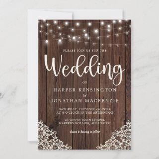 Rustic Wood and String Lights Lace Wedding Invitation