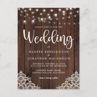 Rustic Wood and String Lights Lace Wedding Invitation Postcard