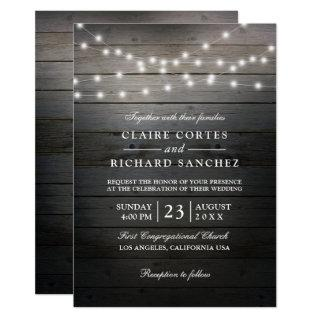 Rustic Wood and String Lights Wedding Invitation