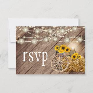 Rustic Wood Barrel and Sunflowers  - RSVP