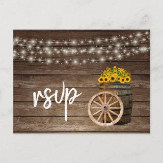 Rustic Wood Barrel and Sunflowers - RSVP Invitations Postcard
