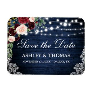 Rustic Wood Blue Burgundy Floral Save the Date Magnet