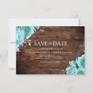 Rustic Wood Blue Teal Aqua Roses Floral Wedding Save The Date