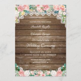Rustic Wood Blush Pink Floral and Lace Wedding