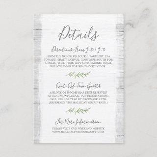 Rustic Wood & Botanical Leaf Details / Directions Enclosure Card
