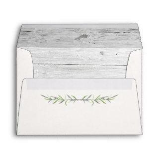 Rustic Wood & Botanical Leaves Wedding Invitations Envelope