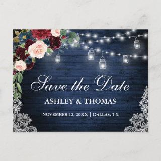 Rustic Wood Burgundy Blue Floral Save the Date Announcement Postcard