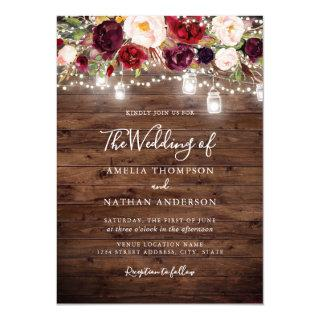 Rustic Wood Burgundy Floral Lights Wedding Invitations