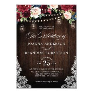 Rustic Wood Burgundy Floral Mason Jar Wedding Invitations