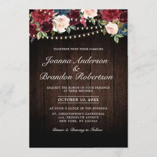 Rustic Wood Burgundy Floral String lights Invitation