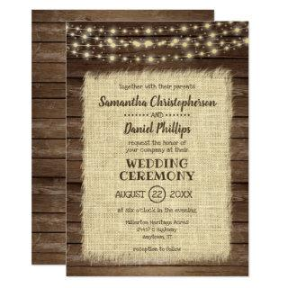 Rustic Wood, Burlap & String Lights Wedding Invitation