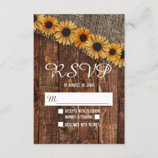 Rustic Wood Burlap Sunflower Country Wedding RSVP