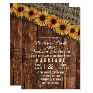 Rustic Wood & Burlap Sunflower Wedding Invitations