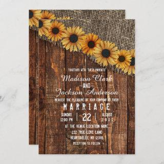 Rustic Wood & Burlap Sunflower Wedding Invitation