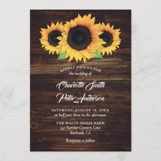Rustic Wood Burlap Sunflower Wedding Invitations