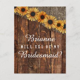 Rustic Wood & Burlap Will You Be My Bridesmaid Invitations
