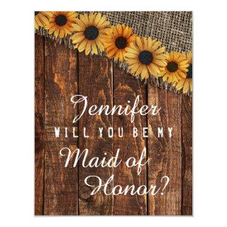 Rustic Wood & Burlap Will You Be My Maid of Honor Invitation
