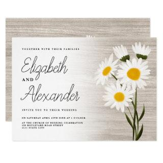 Rustic wood country daisy flowers backyard wedding Invitations