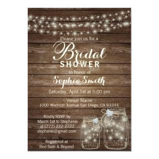 RUSTIC Wood Country Mason Jar Bridal Shower Invitations