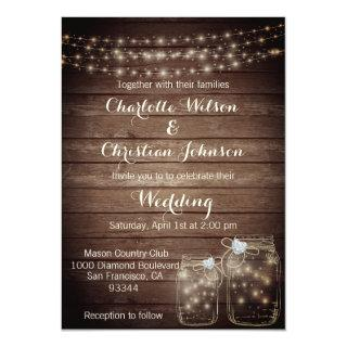 Rustic Wood Country Mason Jar Lights Wedding Invitations