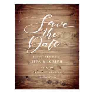 Rustic Wood Country Script Save the Date Postcard