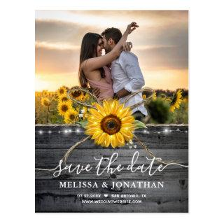 Rustic Wood Country Sunflower Photo Save the Date Postcard