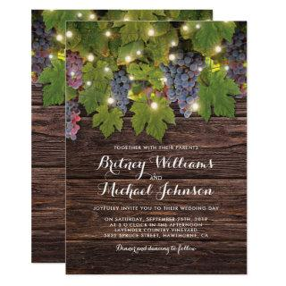 Rustic Wood Country Winery Twinkle Lights Wedding Invitations