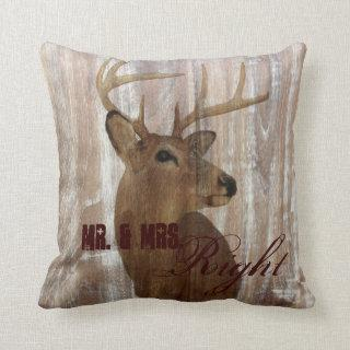 rustic wood deer the hunt is over mr and mrs throw pillow